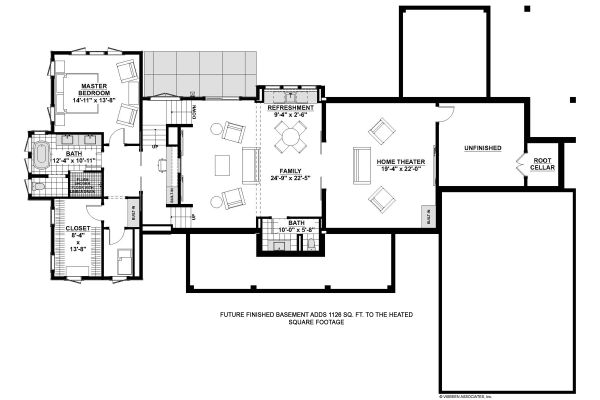 Farmhouse Floor Plan - Lower Floor Plan Plan #928-338