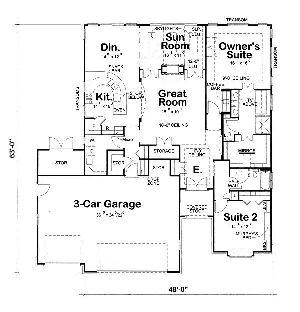 European Floor Plan - Other Floor Plan Plan #20-2069