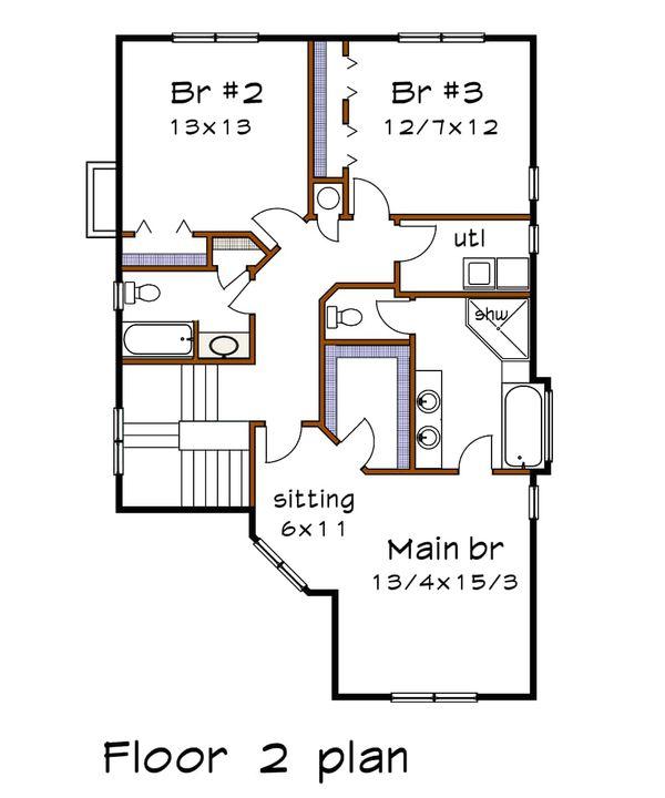 Country Floor Plan - Upper Floor Plan Plan #79-262