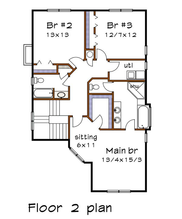 Country Floor Plan - Upper Floor Plan Plan #79-262