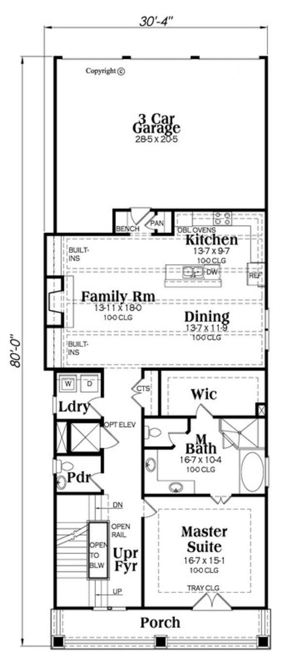 Craftsman Floor Plan - Main Floor Plan #419-302