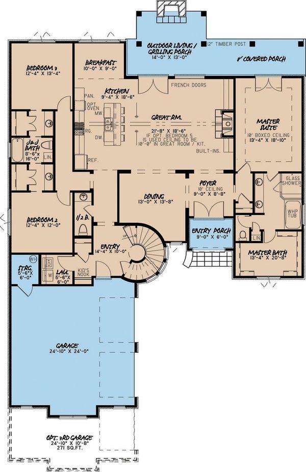 European Floor Plan - Main Floor Plan Plan #923-1