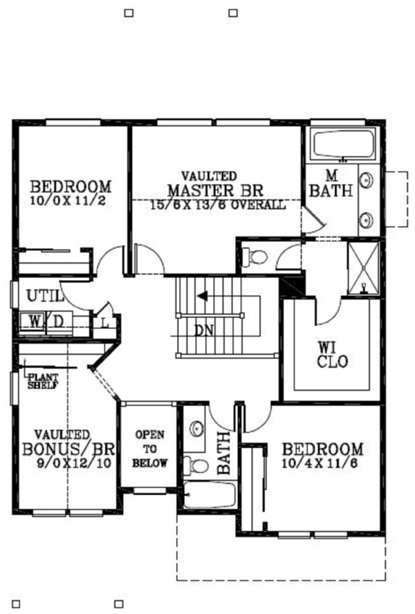 Craftsman Floor Plan - Upper Floor Plan Plan #53-455
