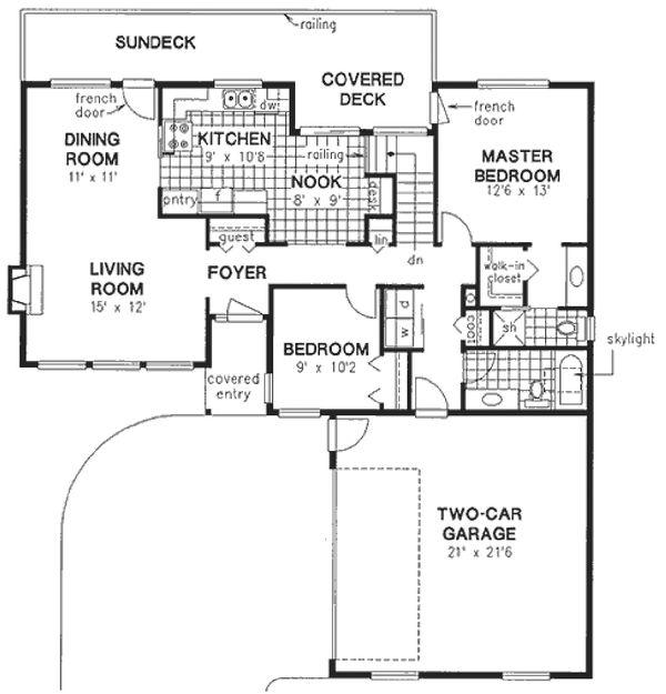 House Plan Design - Southwestern, Ranch style house plan, main level floor plan