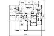 European Style House Plan - 3 Beds 3.5 Baths 2709 Sq/Ft Plan #20-2264 Floor Plan - Main Floor