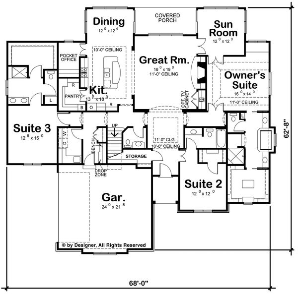 House Plan Design - European Floor Plan - Main Floor Plan #20-2264