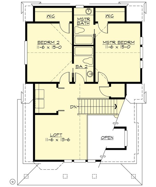 Cottage Floor Plan - Upper Floor Plan Plan #132-192