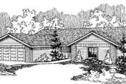 Ranch Style House Plan - 4 Beds 2.5 Baths 1744 Sq/Ft Plan #60-346 Exterior - Front Elevation
