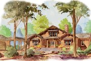 Craftsman Style House Plan - 4 Beds 4.5 Baths 3520 Sq/Ft Plan #429-45 Exterior - Front Elevation
