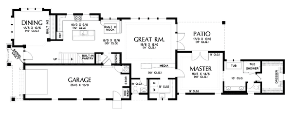 Craftsman Floor Plan - Main Floor Plan Plan #48-1007