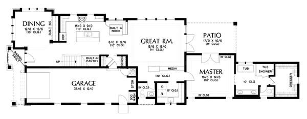 Home Plan - Craftsman Floor Plan - Main Floor Plan #48-1007