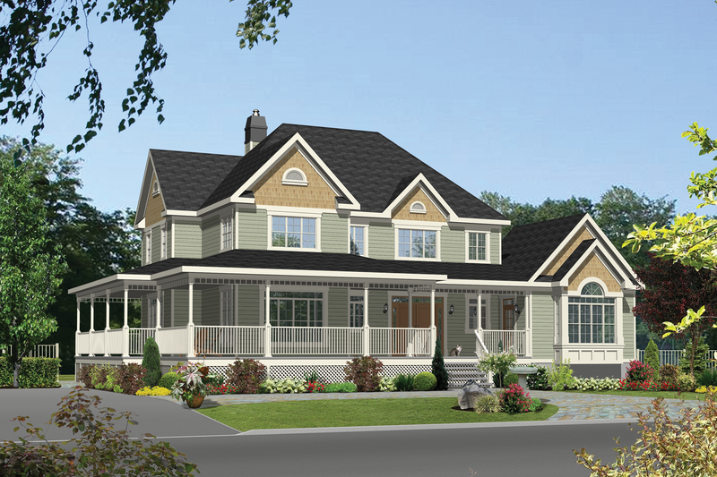 Country Style House Plan - 5 Beds 3 Baths 3455 Sq/Ft Plan #25-4562 Exterior - Front Elevation