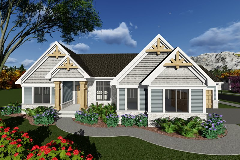 Ranch Style House Plan - 3 Beds 2.5 Baths 2328 Sq/Ft Plan #70-1274 Exterior - Front Elevation