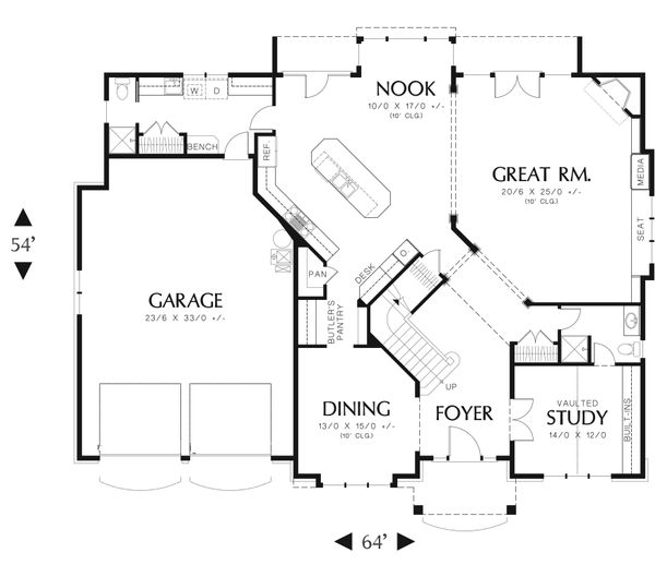 Craftsman Floor Plan - Main Floor Plan Plan #48-612