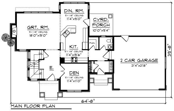 Craftsman Floor Plan - Main Floor Plan Plan #70-1272