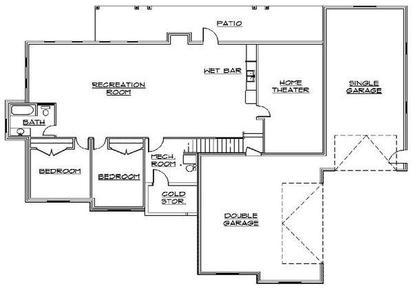 House Plan Design - Traditional Floor Plan - Lower Floor Plan #5-342