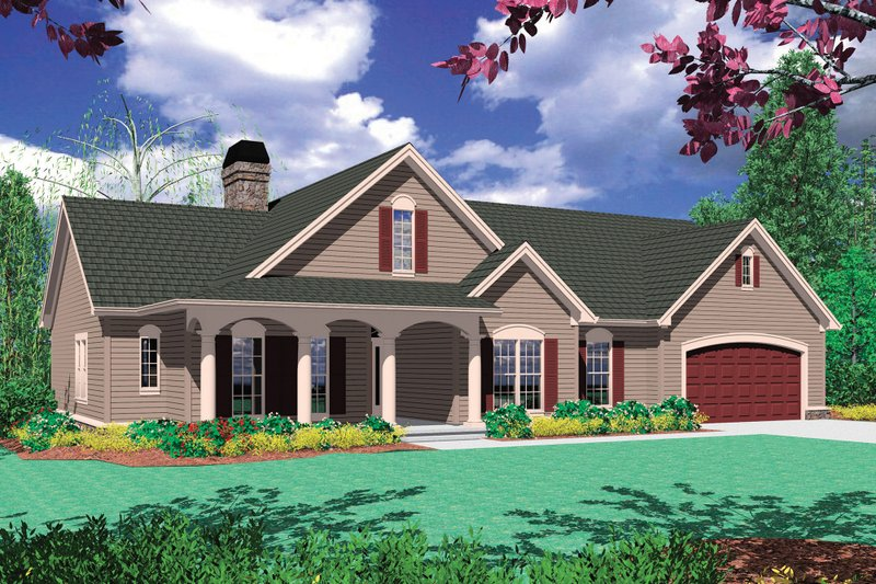 Craftsman Exterior - Front Elevation Plan #48-101 - Houseplans.com