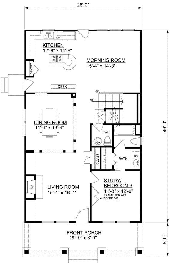 Bungalow Style House Plan - 3 Beds 3.5 Baths 2253 Sq/Ft Plan #30-338 Floor Plan - Main Floor Plan