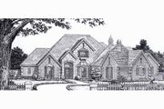European Style House Plan - 4 Beds 3.5 Baths 3238 Sq/Ft Plan #310-928 Exterior - Front Elevation