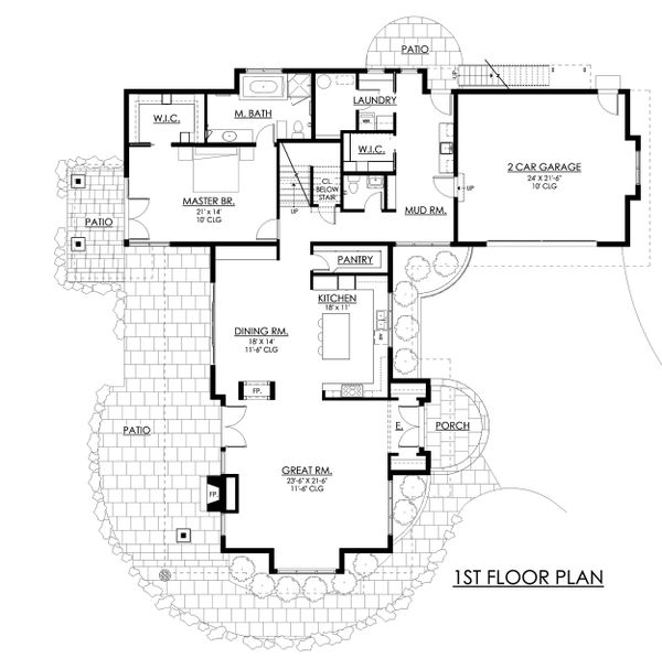 Contemporary Floor Plan - Main Floor Plan Plan #1042-21