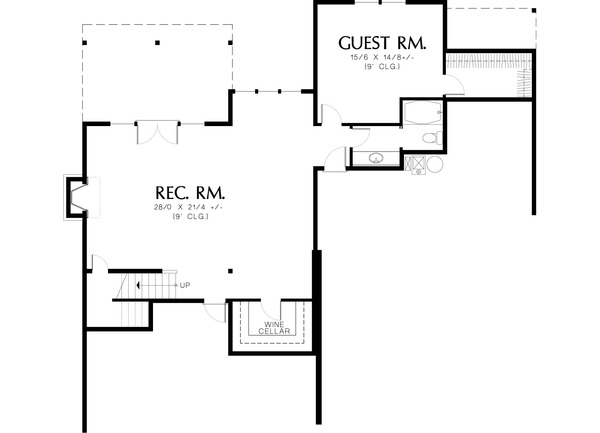 Lower level floor plan - 2800 square foot Craftsman home