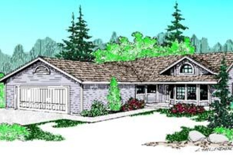 Ranch Exterior - Front Elevation Plan #60-386 - Houseplans.com
