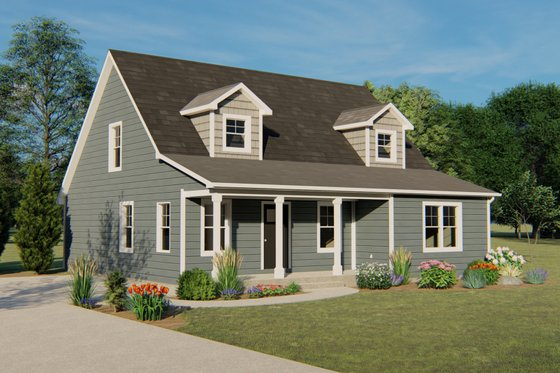 Cottage Exterior - Front Elevation Plan #1064-22