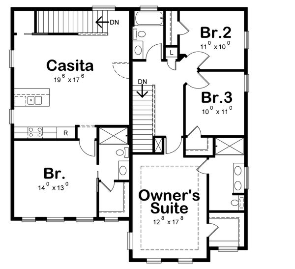 Traditional Floor Plan - Upper Floor Plan Plan #20-2327