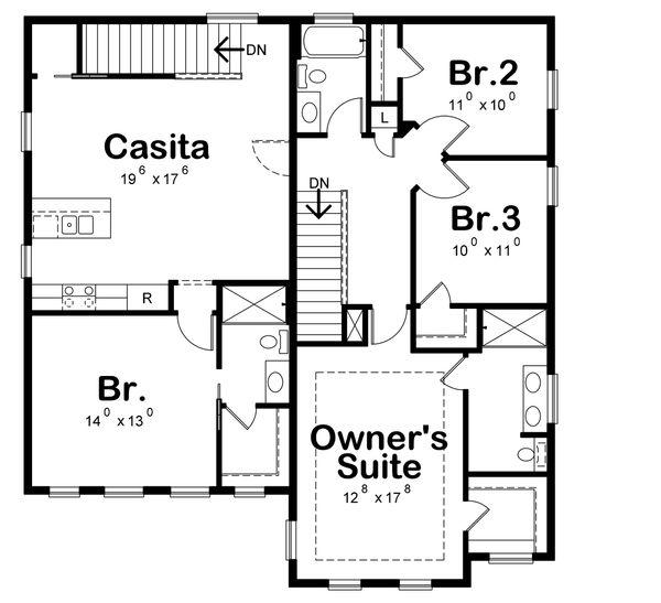 Architectural House Design - Traditional Floor Plan - Upper Floor Plan #20-2327