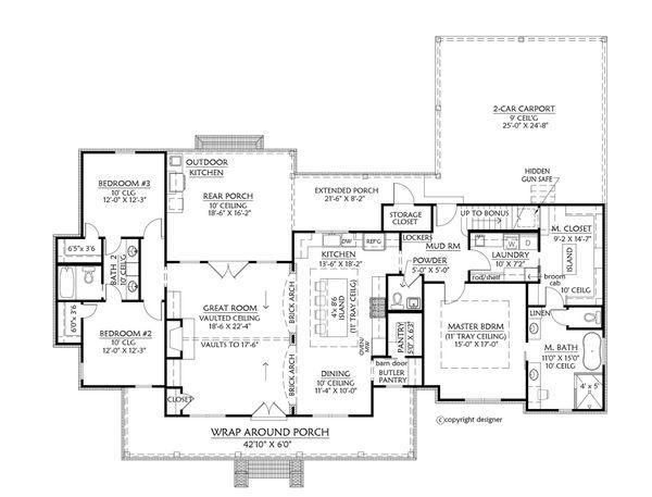 Architectural House Design - Farmhouse Floor Plan - Main Floor Plan #1074-13