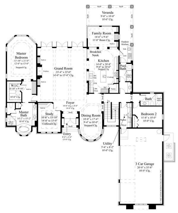 Mediterranean Floor Plan - Main Floor Plan Plan #930-479