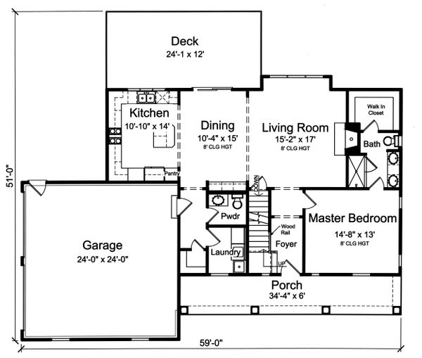 Farmhouse Floor Plan - Main Floor Plan Plan #46-886
