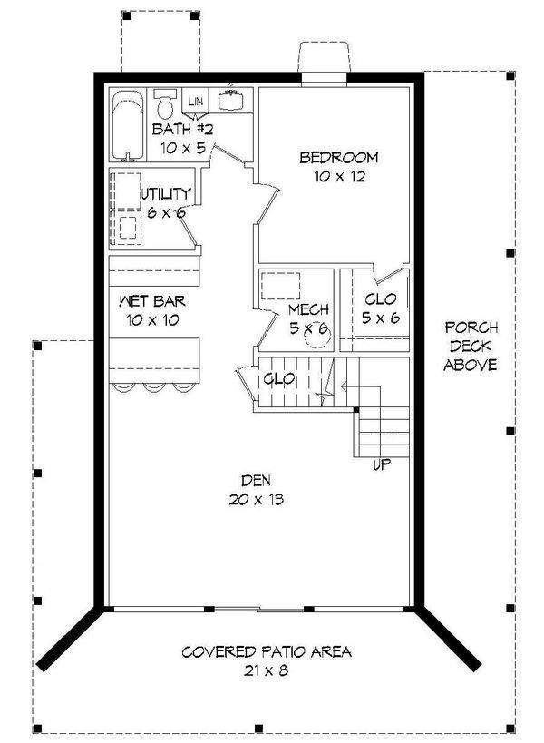 Architectural House Design - Cabin Floor Plan - Lower Floor Plan #932-107
