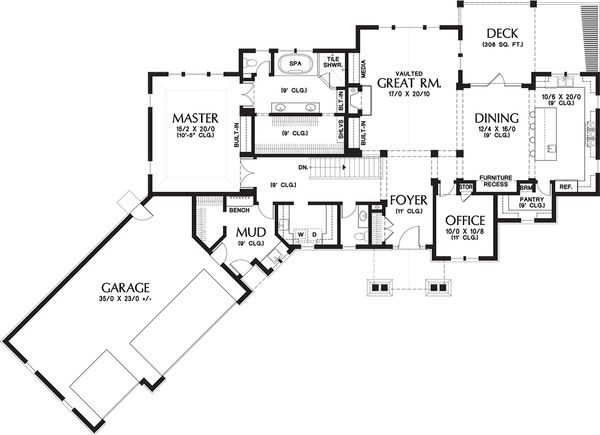 Craftsman Floor Plan - Main Floor Plan Plan #48-652