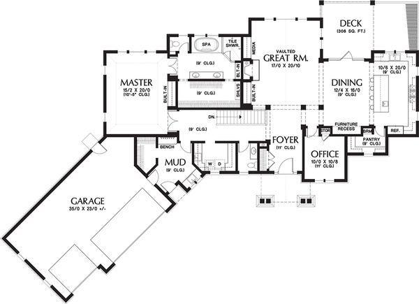 Craftsman Floor Plan - Main Floor Plan Plan #48-652