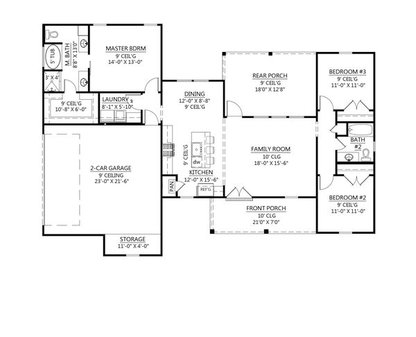 House Plan Design - Farmhouse Floor Plan - Main Floor Plan #1074-26