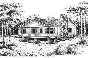 Cabin Exterior - Front Elevation Plan #10-119