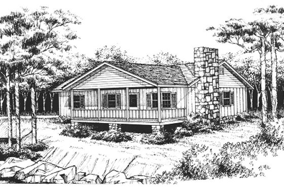 Cabin Exterior - Front Elevation Plan #10-119