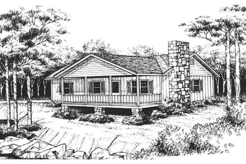 Cabin Style House Plan - 2 Beds 1.5 Baths 1020 Sq/Ft Plan #10-119 Exterior - Front Elevation