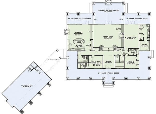 Dream House Plan - Country Floor Plan - Main Floor Plan #17-2398