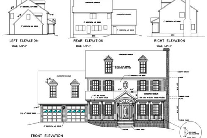 Colonial Exterior - Rear Elevation Plan #56-146 - Houseplans.com