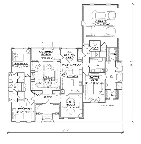 Ranch Floor Plan - Main Floor Plan Plan #1054-25