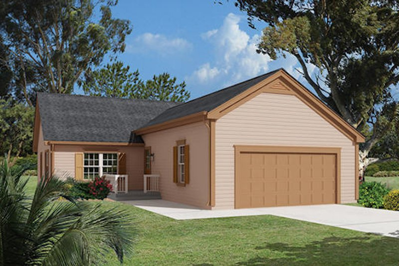 Ranch Style House Plan - 2 Beds 2 Baths 1366 Sq/Ft Plan #57-282 Exterior - Front Elevation