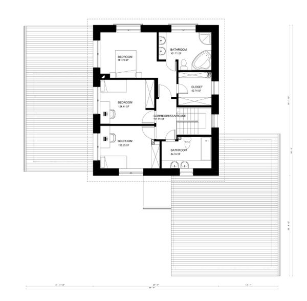 Contemporary Floor Plan - Upper Floor Plan Plan #906-12