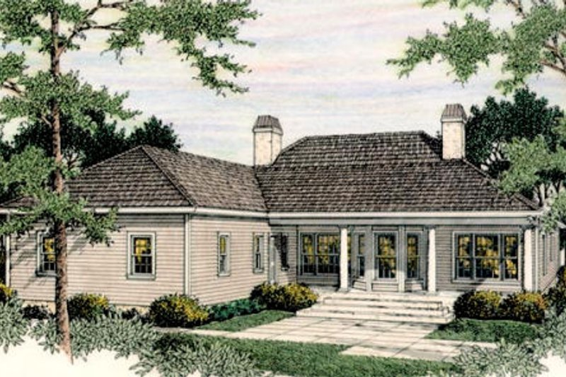 Colonial Exterior - Rear Elevation Plan #406-130 - Houseplans.com