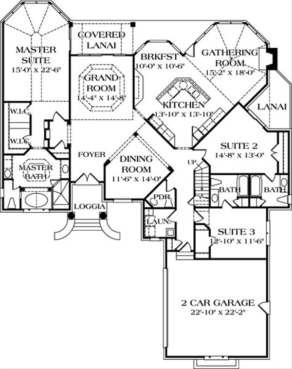 Colonial Floor Plan - Main Floor Plan Plan #453-33