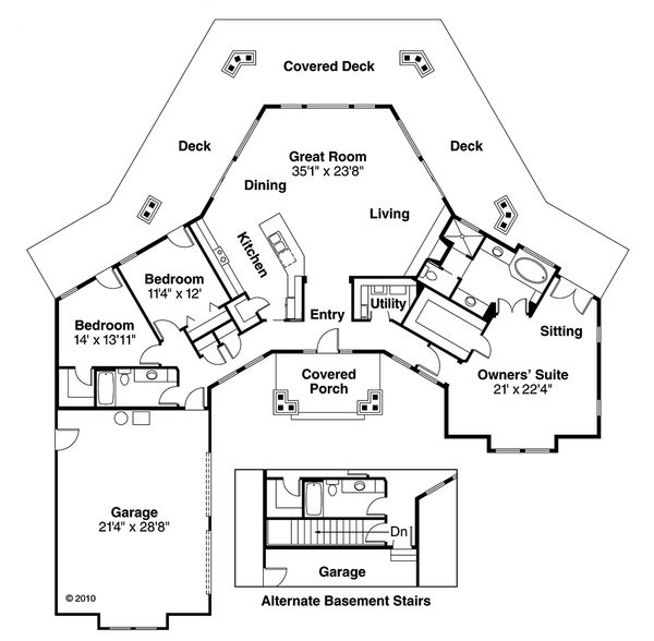 Ranch Floor Plan - Main Floor Plan Plan #124-472