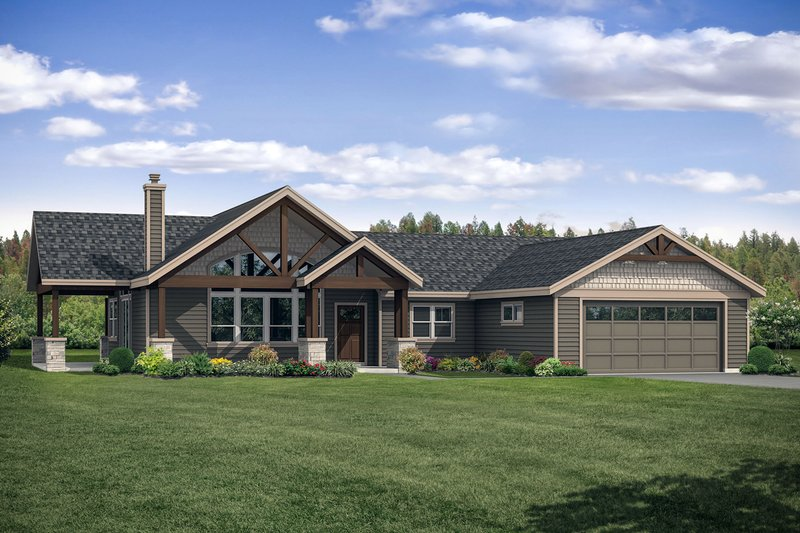 House Plan Design - Country Exterior - Front Elevation Plan #124-1120