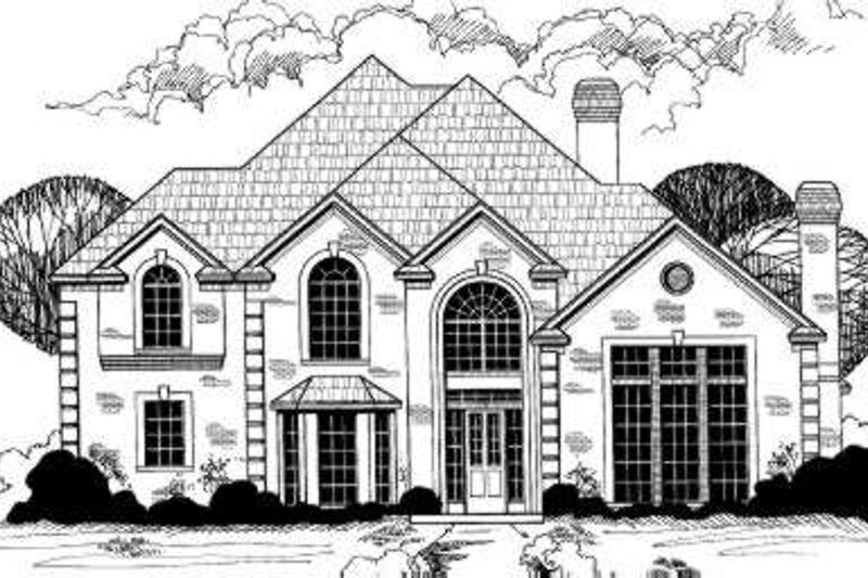 European Style House Plan - 5 Beds 5.5 Baths 4109 Sq/Ft Plan #317-132 Exterior - Front Elevation