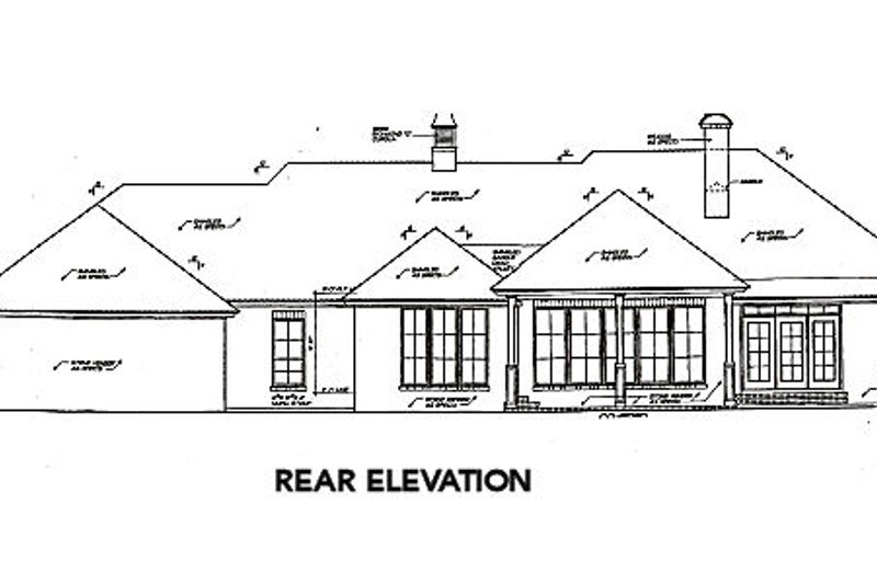 European Exterior - Rear Elevation Plan #310-598 - Houseplans.com